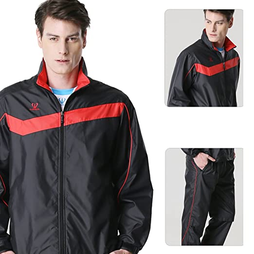 Fuerza Mens Track Jacket Pants Built In Hood Woven Tracksuit (Black/Red) Medium