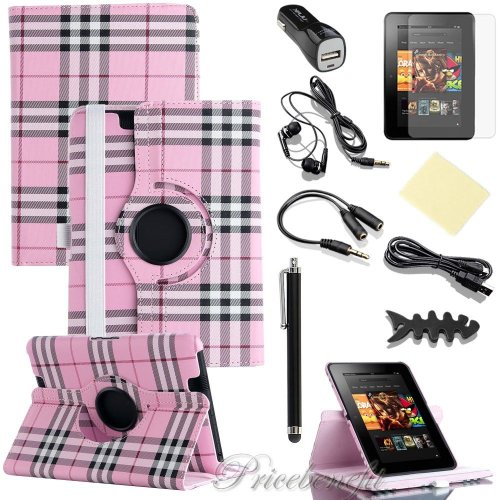 "8In1 Leather Case Fits Amazon Kindle Kindle Fire Hd 7"" 1St Generation 2012 Pink Grid 360 Degree Rotating Pu Leather Folio+ Lcd Screen Protective Film + Stylus/Pen + Usb Cable + Handsfree Ear Piece + Car Charger + Earphone Splitter Cable (1 In 2 Out)+ Fish"