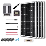 Renogy 400 Watt 12 Volt Solar Premium Kit w/ 4 Pcs 100W Solar Panel+40A MPPT Charge Controller+Solar Cable+Solar Fuse Mounting Z Brackets for RV, Boat (Tamaño: 400w+Commander40)