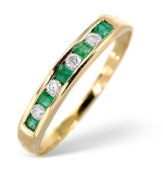 TheDiamondStore | Eternity Ring - 0.15ct Emerald & 0.09ct Diamond - 2mm Wide Band - 9K Gold