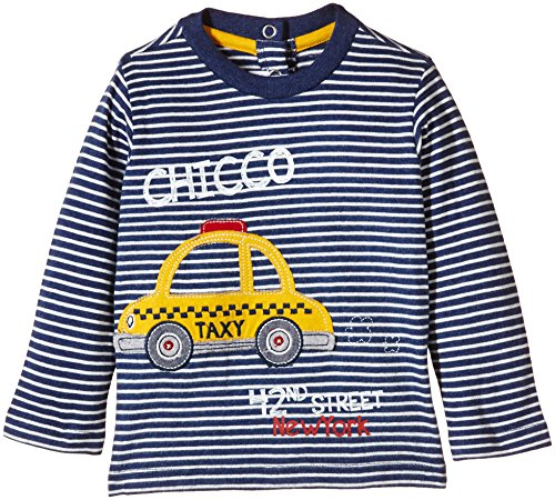 Chicco TEE-SHIRT ML-Polo Bimbo,    Multicolore (Blanc/Bleu) 24 mesi