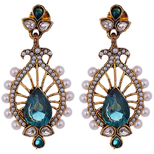 Aditri Aditri Blue Colour American Diamond Clip-On Fashion Earrings For Women (Multicolor)