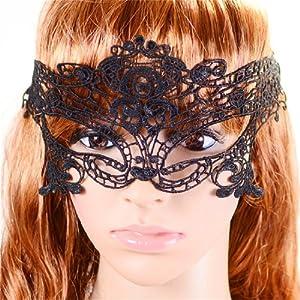 Halloween Venetian Masquerade Black Crochet Lace Eye Fancy Dress Mask from Qiyun