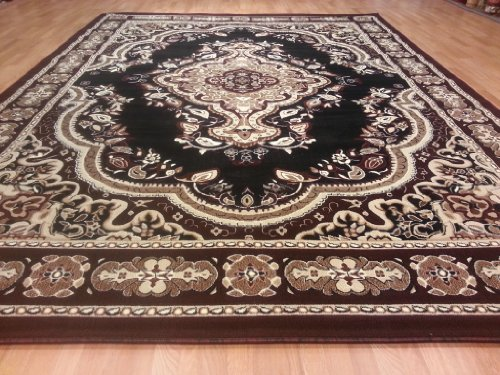 E520 Victorian Traditional Medallion Plush Black 5x8 Actual Size 5'3x7'2 Rug