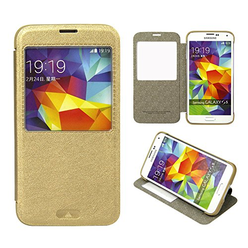 Moon Monkey Classical Ultra-Thin Vintage Intelligent Window Folio Flip Leather Cover Case For Samsung Galaxy S5 (Gold)