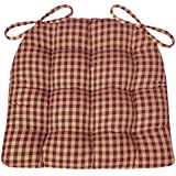 Dining Chair Pad with Ties - Checkers Red & Tan 1/4 Inch Check Pattern - Latex Foam Fill - Reversible Cushions - Made in USA