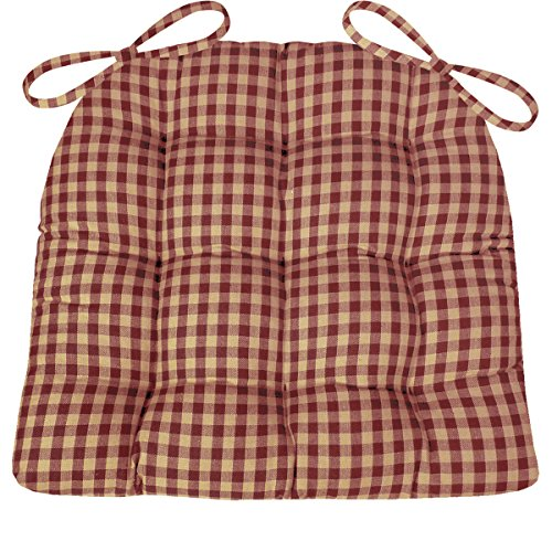 Red and White Gingham Check Kitchen Seat Pad