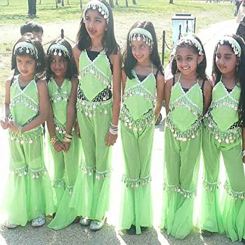 Belly dancer costume for child in lime green