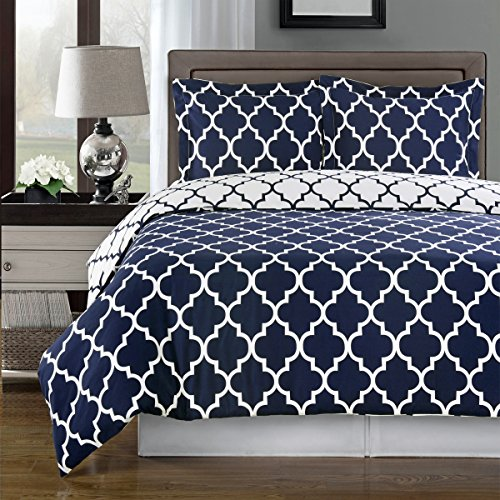 Cheapest Price! Navy and White Meridian 3-piece Full / Queen Comforter Cover (Duvet-Cover-Set) 100 %...