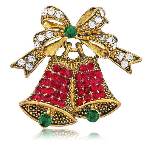 Vintage Inspired Christmas Bells in Crystal Brooch Pin - Ideal Gift For Mother, For Her, Birthday, Anniversary, Bridal, Wedding, Engagement