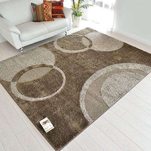 なかね家具 ナチュラルモダンラグマット 日本製 ホットカーペット対応 抗菌 手洗い ブラウン 190×240 119bija