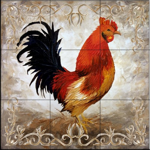 Rooster II by Malenda Trick - Kitchen Backsplash / Bathroom wall Tile Mural