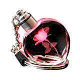 Laser Engraved Rose Crystal LED Light Key-Chain-Various Colors (Red) (Color: Red)