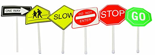 Toys Safety Signs Road Safety Signs 6 Pieces