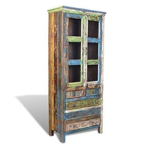 vidaXL Libreria multicolore in legno riciclato con 5 cassetti e 2 sportelli