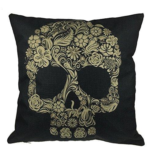 Luxbon, motivo fantasia floreale con teschio, cuscino per cuscino decorativo DESIGN 1