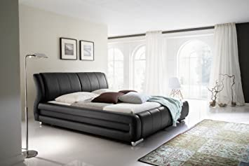 Design imbottitura letto in ecopelle nero 160/180 x 200 cm giardino letto matrimoniale letto nero