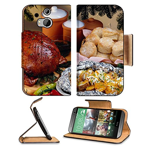 Roasted Chicken Bread Buns Feast Htc One M8 Flip Case Stand Magnetic Cover Open Ports Customized Made To Order Support Ready Premium Deluxe Pu Leather 6 4/16 Inch (158Mm) X 3 4/16 Inch (82Mm) X 9/16 Inch (14Mm) Luxlady Htc1 Cover Professional M 8 Cases M_ front-552256