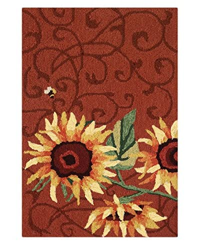 Homefires Rugs Sunflower & Bee, Red, 22 x 34