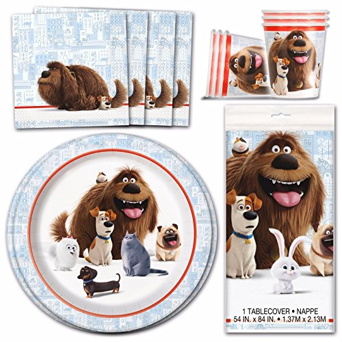 Secret Life Of Pets - Children's Birthday Party Tableware Pack Kit For 8 Kids
