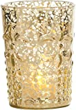 Luna Bazaar Candle Holder (4-Inch, Flower Motif, Gold Mercury Glass) - For Home Decor and Wedding Decorations - For Use with Tea Light Candles