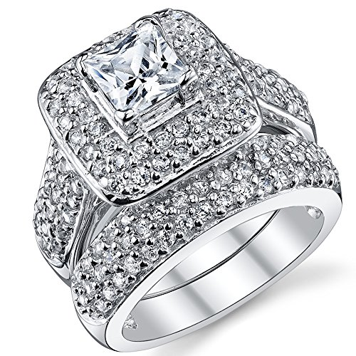 .925 Sterling Silver Princess Cut Cubic Zirconia Wedding Ring Set, Size 7