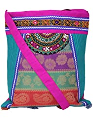 Ethnics Of Kutch Women's Multi-Coloured Raw Silk COLLAGE Bag With Traditional Kutch Handicraft Handwork Embroidary... - B01A5WA3C2