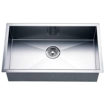 Dawn DSQ241609 Undermount Single Bowl Square Sink, Polished Satin