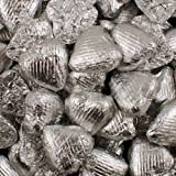 Silver Foil Wrapped Belgian Milk Chocolate Hearts - 10 pack