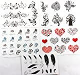 GGSELL GGSELL new design hot selling temporary tattoo stickers combination 5pcs/package different designs, it includes black and white butterflies/black trees/colorful black and white folowers/red hearts/black hearts/flower hearts/feathers/etc.