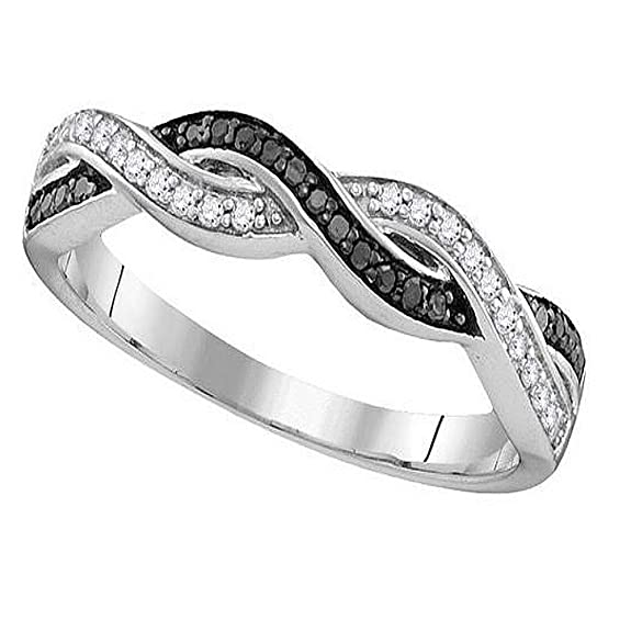Rings-MidwestJewellery.com Women's Infinity Band Ring Black And White Diamonds Sterling Silver 1/10Ctw