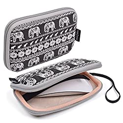 Case Star Bohemian Style Canvas Fabric Smart Elephant Pattern Travel Carrying Case Bag for Mac Magic Mouse, Anker 36W 4-Port USB Wall Charger Travel Adapter, Apple 45W MagSafe Power Adapter (Elephant - Black)