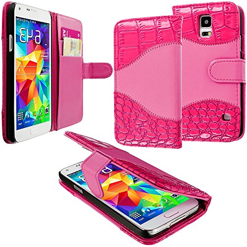 Mylife (Tm) Lipstick Pink Crocodile - Luxury Design - Koskin Faux Leather (Card, Cash And Id Holder + Magnetic Detachable Closing) Slim Wallet For New Galaxy S5 (5G) Smartphone By Samsung (External Rugged Synthetic Leather With Magnetic Clip + Internal Se
