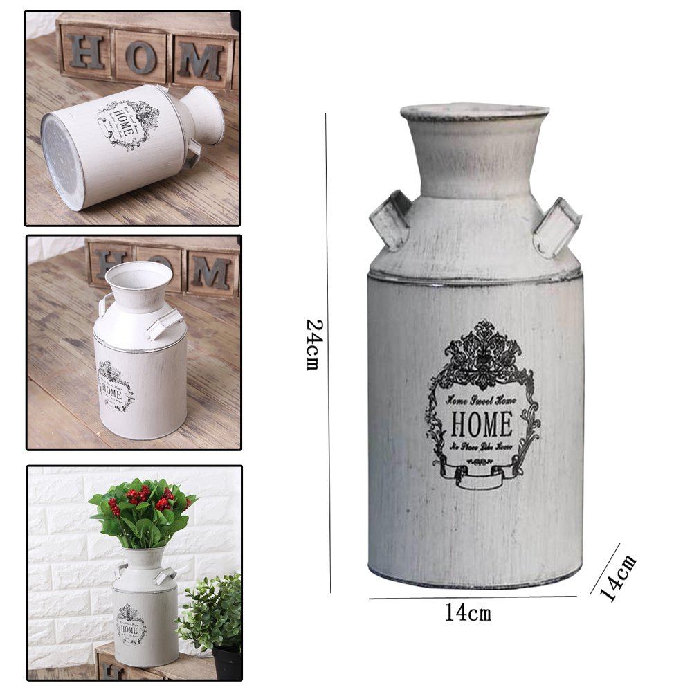 Watering Honey French Style Country Rustic Primitive Jug Vase Milk Can for Home Decoration 1