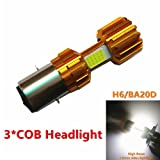 H6 BA20D LED super white motorcycle car bike headlight bulb 3COB 12W x 3 high power DC12-80V Hi/Lo beam headlamp