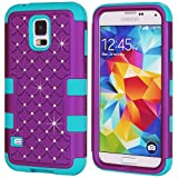 Image of Galaxy S5 Case, Galaxy SV Case, NOKEA Hybrid Heavy Duty Shockproof Full-Body Protective Case Ultra Slim Bumper Cover 3 in 1 Shield Soft TPU Hard PC Dual Layer Impact Protection (Purple Blue)