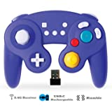 Exlene Wireless Controller Gamepad for Nintendo Switch, Rechargeable, Compatible with PC / PS3, GameCube Style, Motion Controls, Rumble, Turbo (Blue) (Color: Blue)