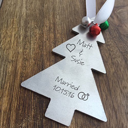 Married Christmas Ornament Tree Shaped Christmas Tree Decoration Personalized Names Year Newlywed Gift Wedding Gift For Just Married For Newlyweds