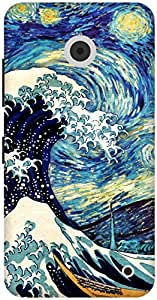 The Racoon Grip Starry Night with The Great Wave hard plastic printed back case / cover for Nokia Lumia 630