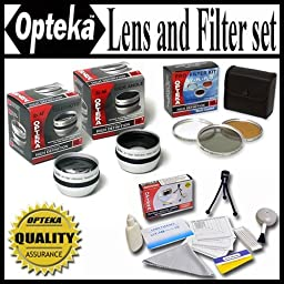 Opteka HD2 Professional Lens & Filter Set For JVC Everio GZ-MG330 GZ-MG365 GZ-MG360 JVC GZ-HD3 GZ-MG555 MG730 GZ-HD6 GZ-HD5 & Canon HG10 HV20 HV30 30.5mm Package Includes 2X Telephoto Lens, 0.5X Wide Angle Lens With Macro, 3 Piece Filter Kit UV, PL, FLD +