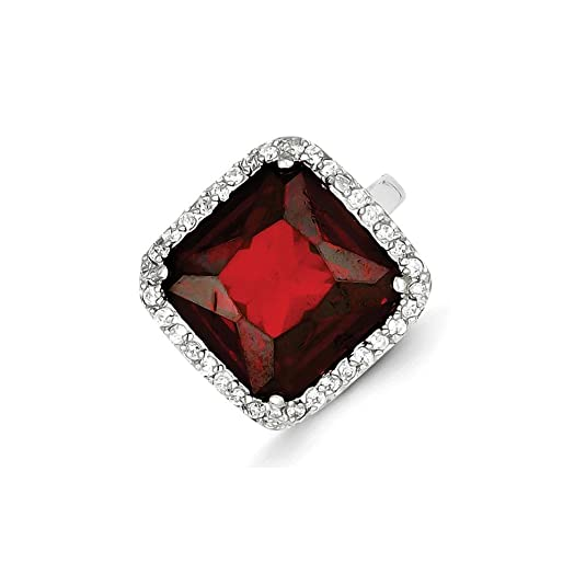 Sterling Silver Square Clear & Red CZ Ring