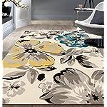 Rugshop Modern Floral Area Rug, 5 x 7, Cream