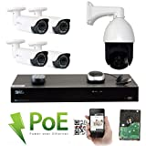 GW Security 8 Channel HD 1920p Security System with 2TB HDD, 4 HD 5MP 1920p 2.8-12mm Varifocal Outdoor Indoor PoE IP Cameras, and 1 20X Zoom 5MP 1920p IP PTZ Camera (Color: 1920P IP PTZ Camera - 20X Optical Zoom, Tamaño: 4 cameras + 1 PTZ camera)