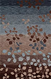 "Modern Area Rug Contemporary CARPET Mocha/Blue 3x5-4x6 stripes vine leaves Exact Size:3' 6"" X 5' 6"""