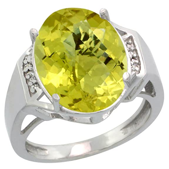 Revoni Sterling Silver Lemon Quartz & Diamond Ring, Large Oval Stone (16x12 mm)