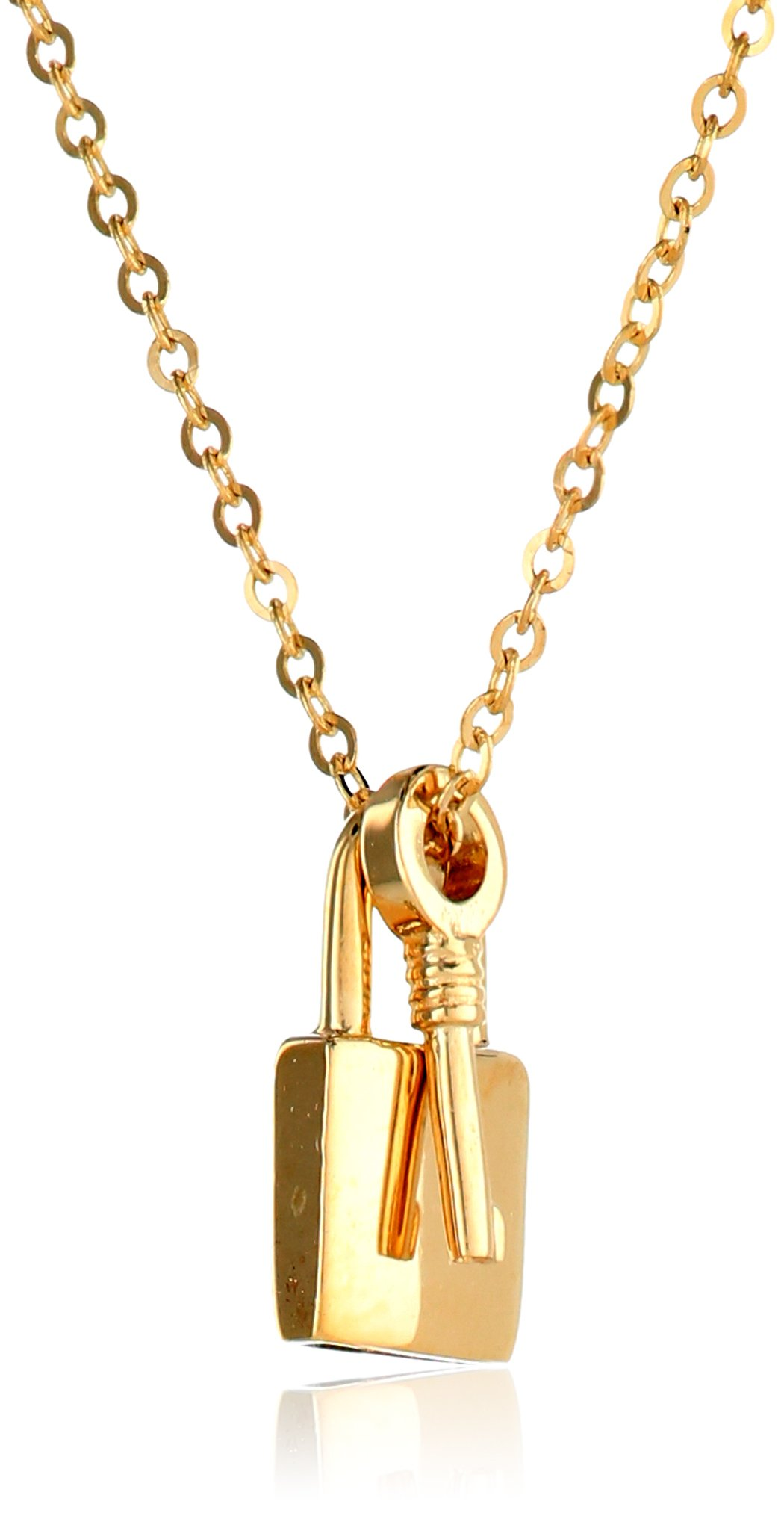 """Galleon - 14k Yellow Gold Key And Lock Pendant Necklace, 18"""""""
