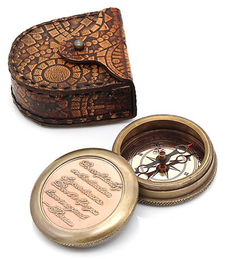 Go Confidently Thoreau's Stamped Quote Compass W/Stamped Mandala Design Case 0