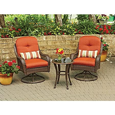 3 Pc Glass top Table Wicker Chairs with Cushions Outdoor Patio Furniture Set Gar
