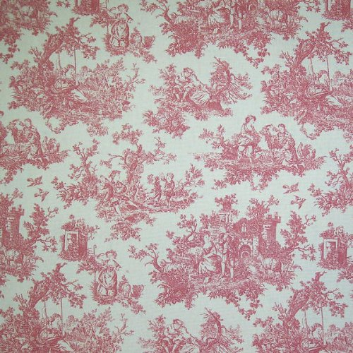 "Fabric ""Sweet Pastimes, Color Rose"" Waverly Toile Fabric By the Yard"
