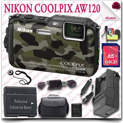 Nikon Coolpix Aw120 Wifi Waterproof Gps Digital Camera (Camo) + 64Gb Sdhc Class 10 Card + Slr Gadget Bag 12Pc Nikon Saver Bundle